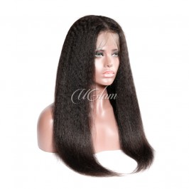 Uglam Hair Full Lace Wigs Kinky Straight 180% Density