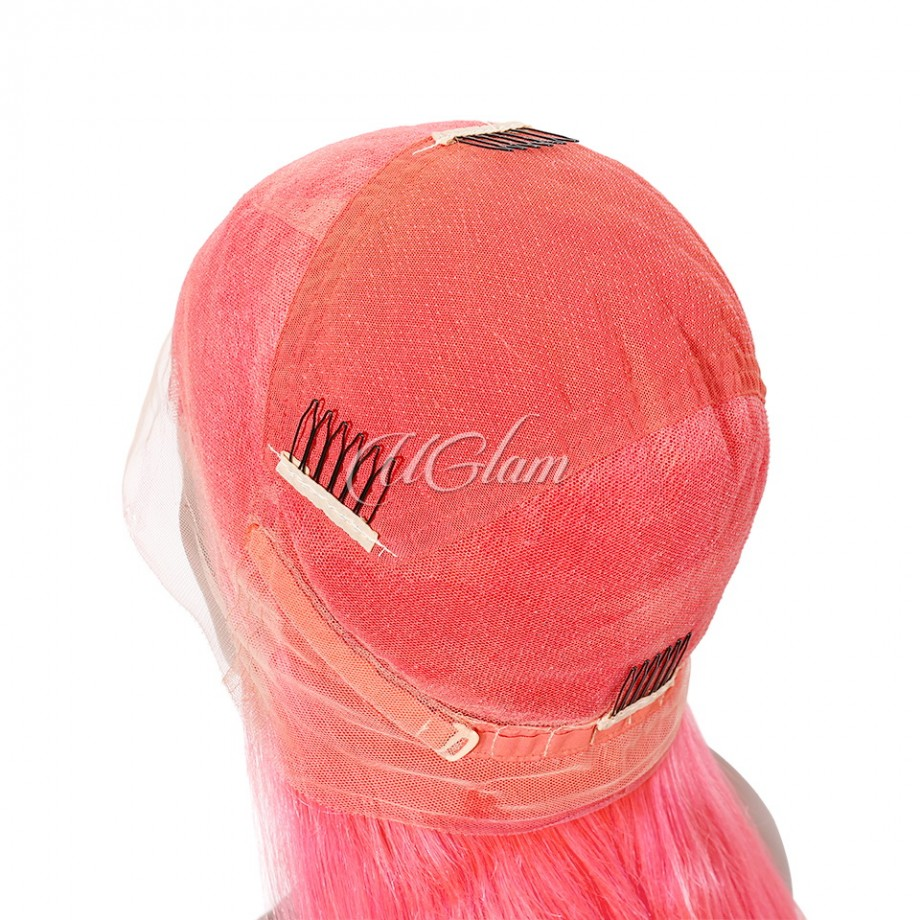 Uglam Hair Full Lace Wigs Peach Color Straight 180% Density
