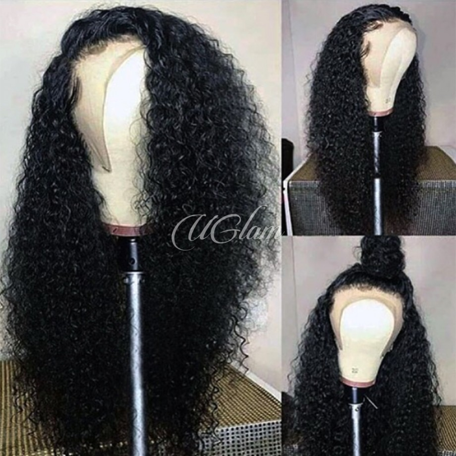 Uglam Hair Full Lace Wigs Water Wave 180% Density