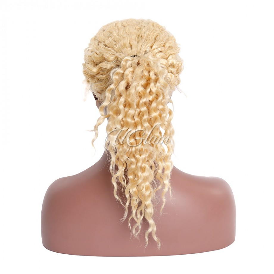Uglam Hair Full Lace Wigs 613 Honey Blonde Color Deep Wave 150% Density
