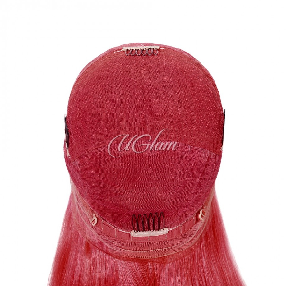 Uglam Hair Full Lace Wigs Bordeaux Red Color Straight 130% Density