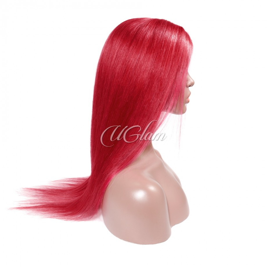 Uglam Hair Lace Front Wigs Bordeaux Red Color Straight 150% & 180% Density