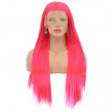 Uglam Full Lace Wigs Rose Red Color Straight Hair