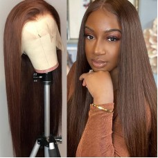 Uglam Full Lace Wigs Brown Color Straight Hair