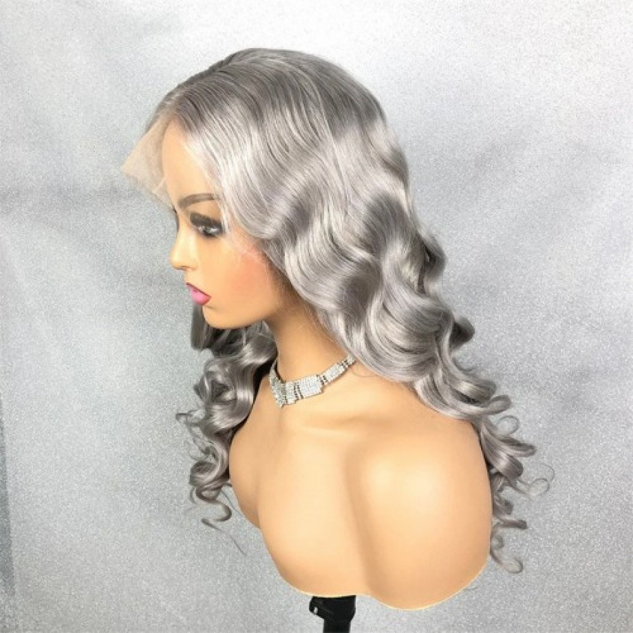 Uglam Grey Body Wave Human Hair 13x4 Lace Closure Wig