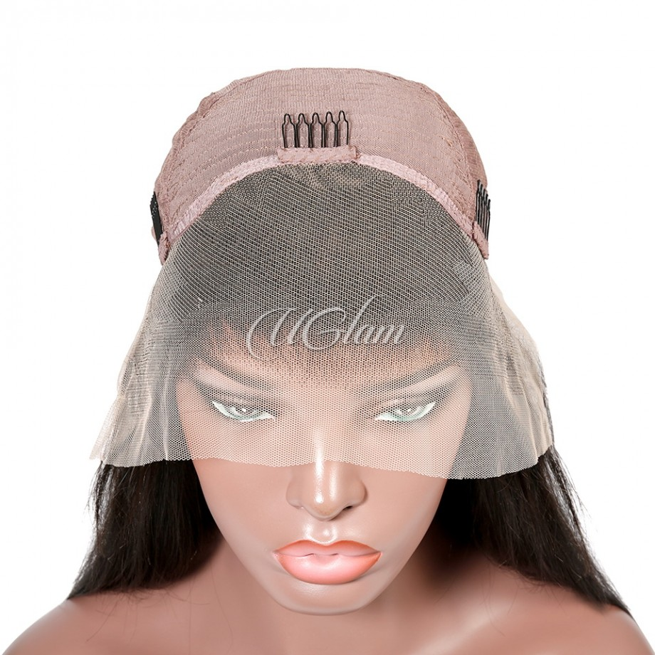 Uglam Hair Transparent Lace Front Wigs Straight 150% Density