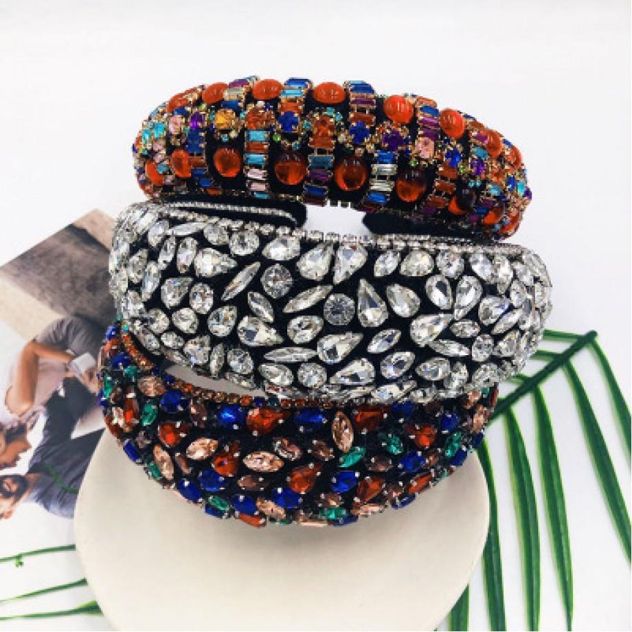 Uglam Colorful Crystals-Inlaid Sponge Rhinestone Headband