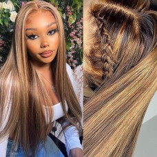 Uglam 13X4 Lace Front Piano Color Highlight #4/27 Straight Wig