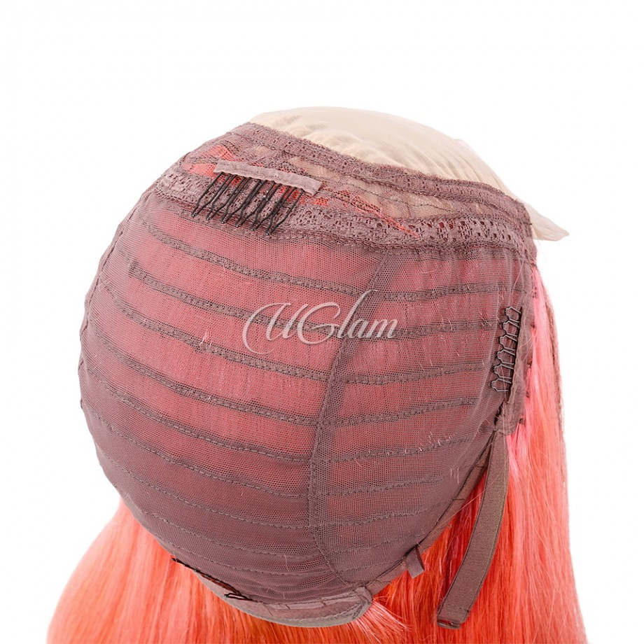 Uglam Hair Bob Machine-Made Wigs Black Root Peach Ombre Color Straight
