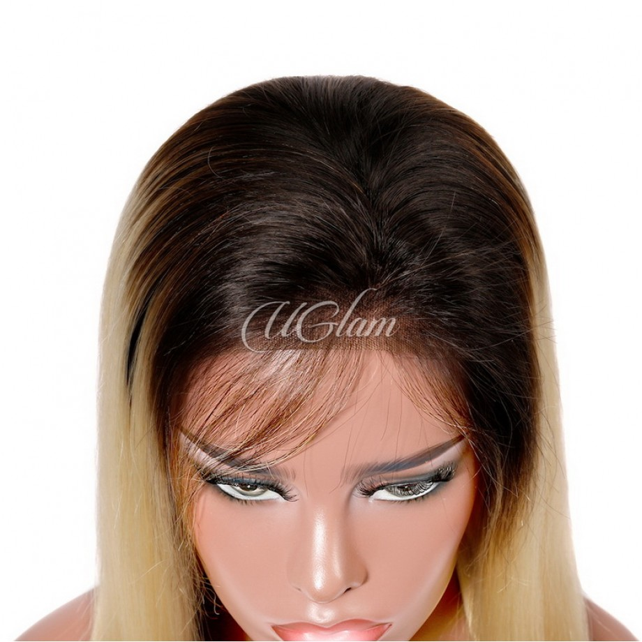 Uglam Hair Lace Front Wigs Ombre Black Root 613 Blonde Color Straight 150% Density