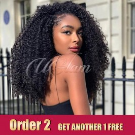 Uglam Hair Lace Front Wigs Afro Kinky Curl 180% Density