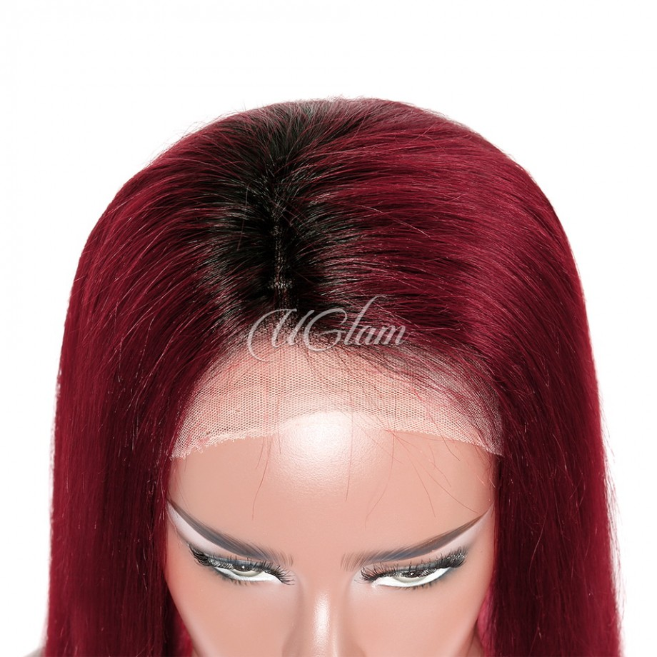 Uglam Hair Lace Front Wigs Black Root Red/Burgundy Ombre Color Straight 180% Density
