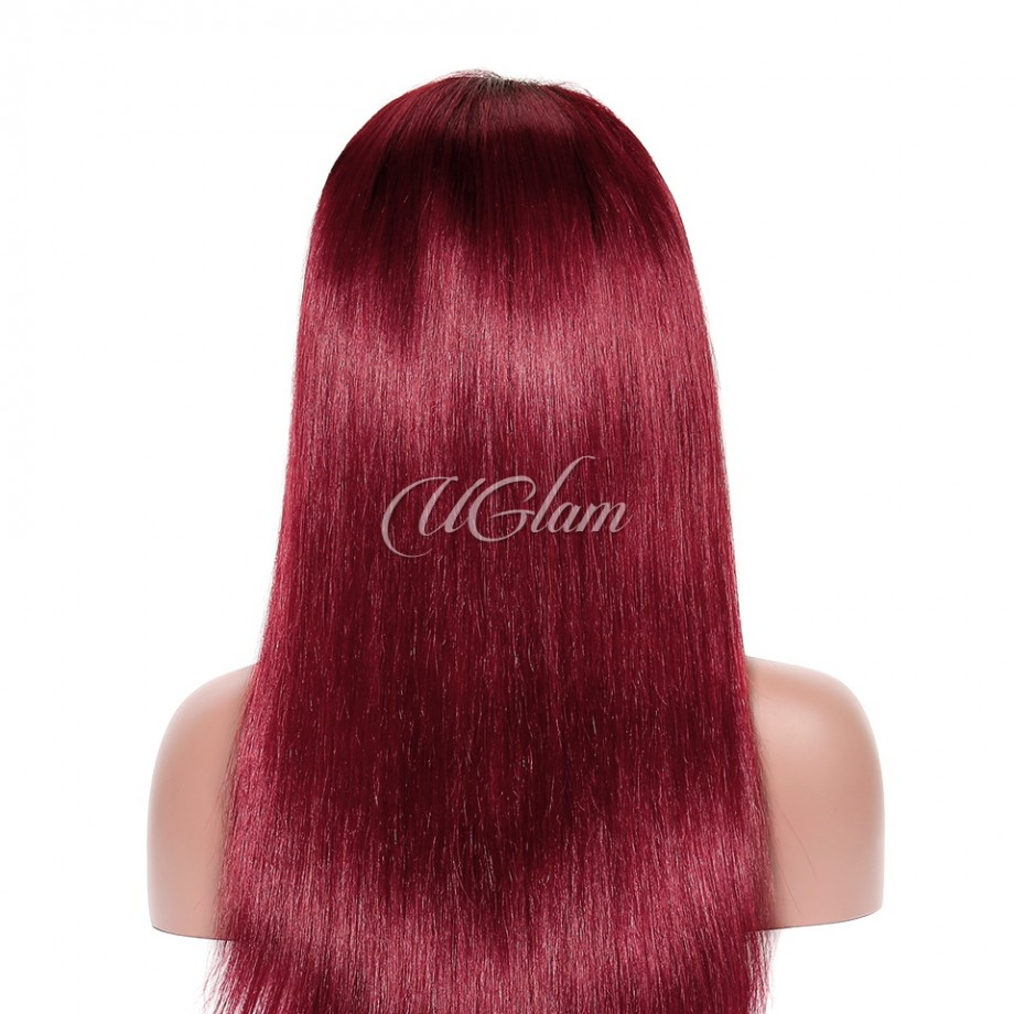 Uglam Lace Front Wigs Black Root Red/Burgundy Ombre Color Straight 180% Density