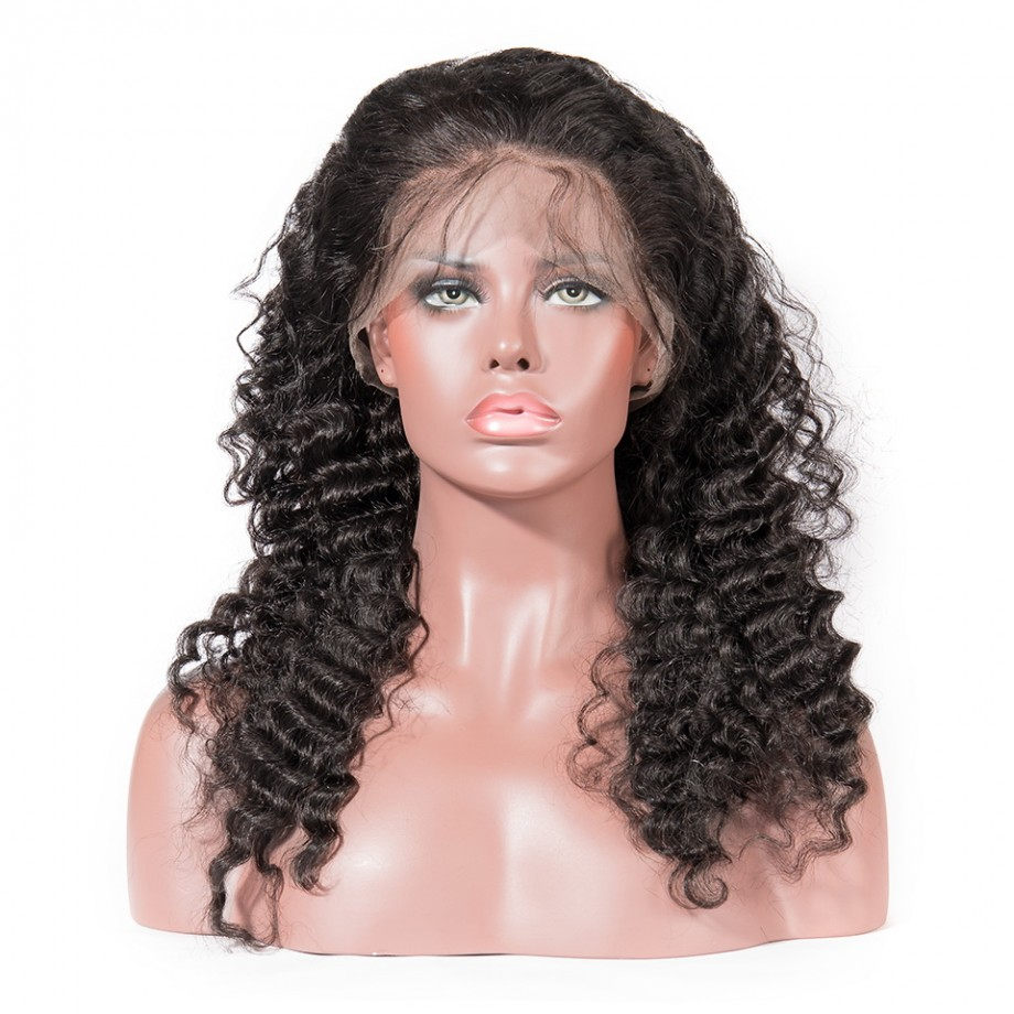Uglam Hair Undetectable Lace Transparent Lace Front Wigs Deep Wave 150% Density