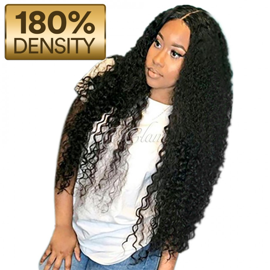 Uglam Hair Undetectable Lace Transparent Lace Front Wigs Deep Wave 180% Density