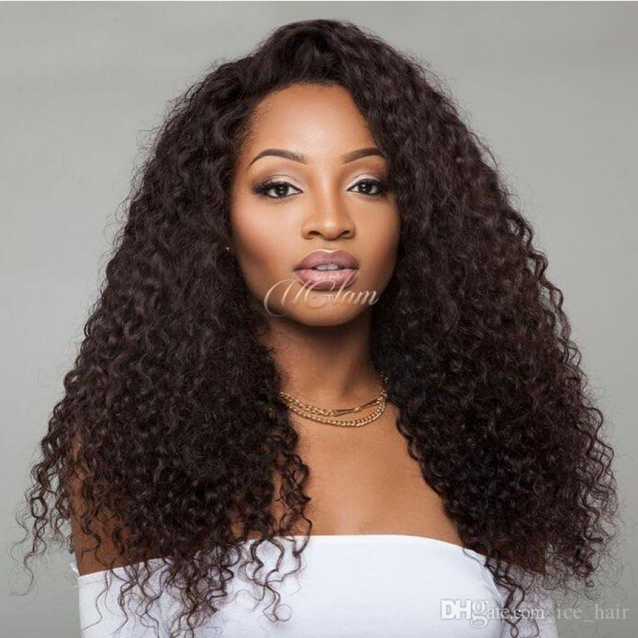 Uglam Hair Lace Front Wigs Kinky Curly 180% Density