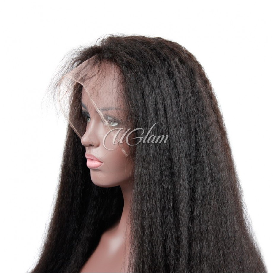 Uglam 360 Lace Front Wigs Kinky Straight 250%  Density