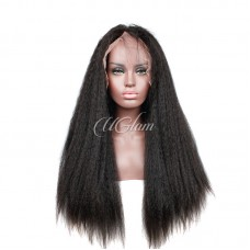 Uglam Hair Lace Front Wigs Kinky Straight 180% Density