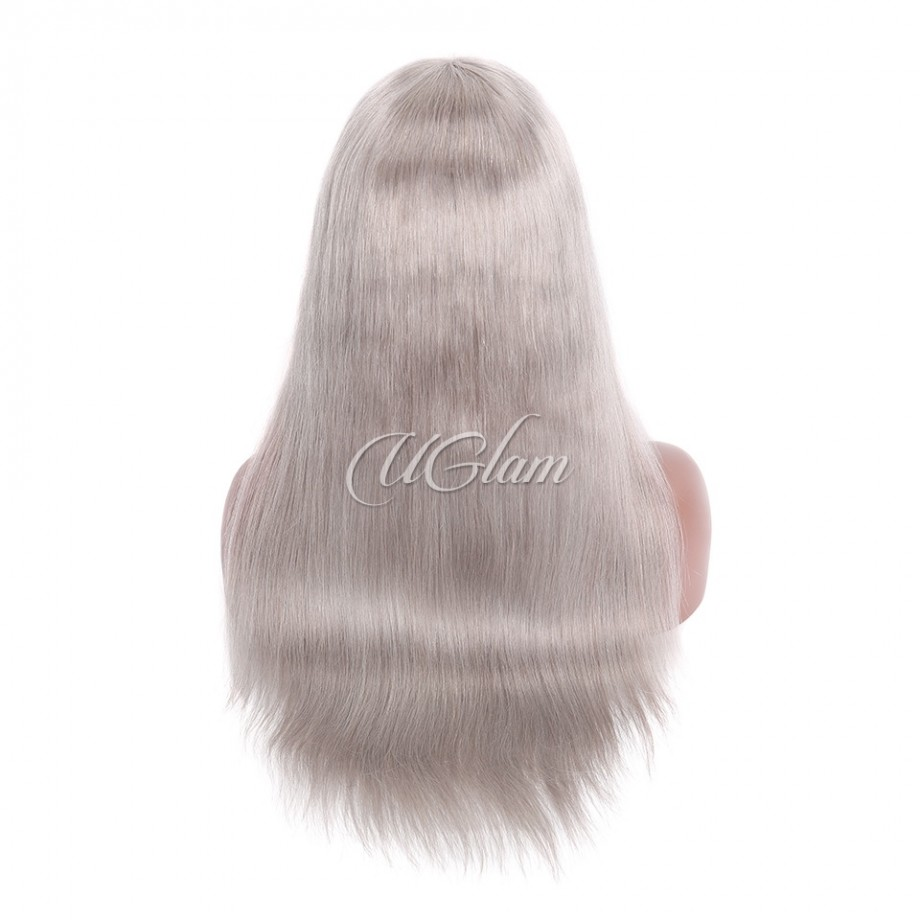 6c94a99c1 ... Uglam Hair Grey Lace Front Wigs Silver Color Straight 150% Density ...