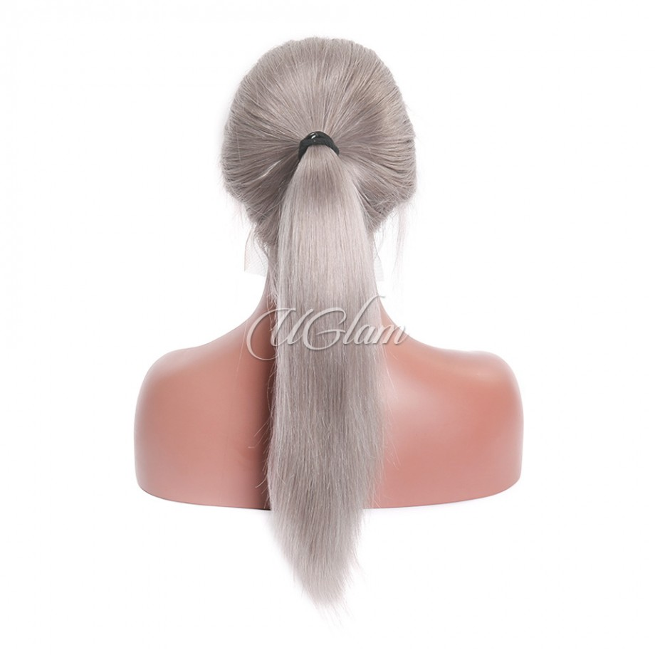 0fd828ede ... Uglam Hair Grey Lace Front Wigs Silver Color Straight 150% Density