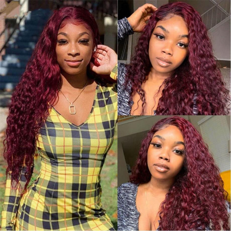 Uglam Lace Front Wig 99J Wine Color Deep Wave Wig