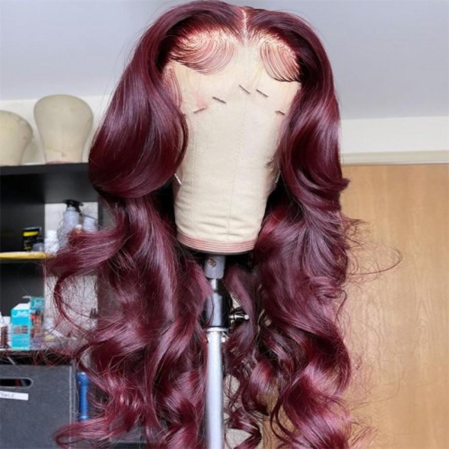 Uglam Lace Front Wig 99J Wine Color Body Wave Wig
