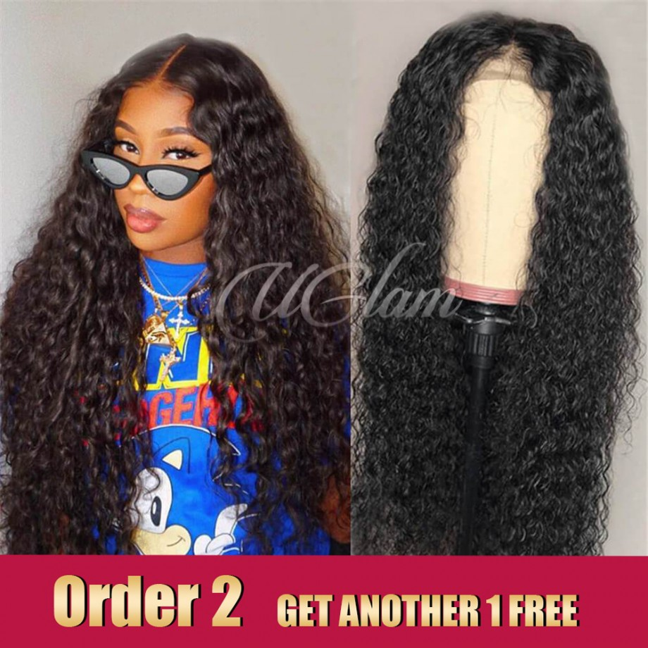 Uglam Hair Lace Front Wigs Water Wave 180% Density