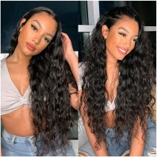 Uglam 13x6 Transparent Lace Front Water Wave Wig 200% Density