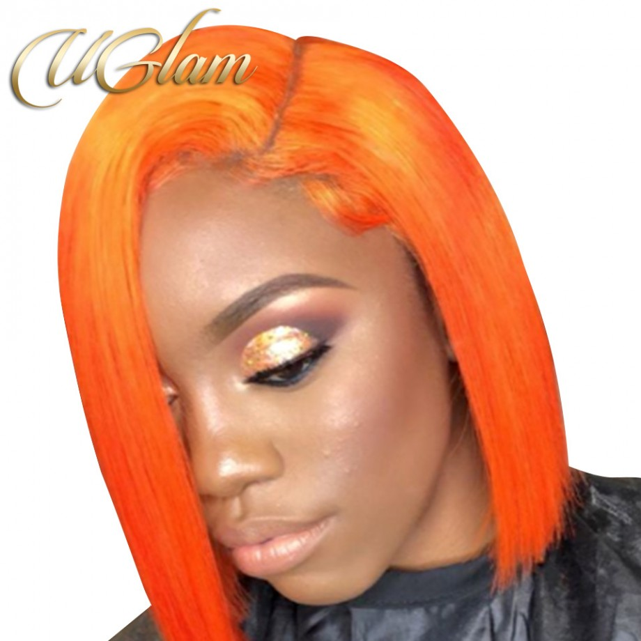 Uglam Hair Bob Lace Front Wigs Light Orange Color With Middle Part