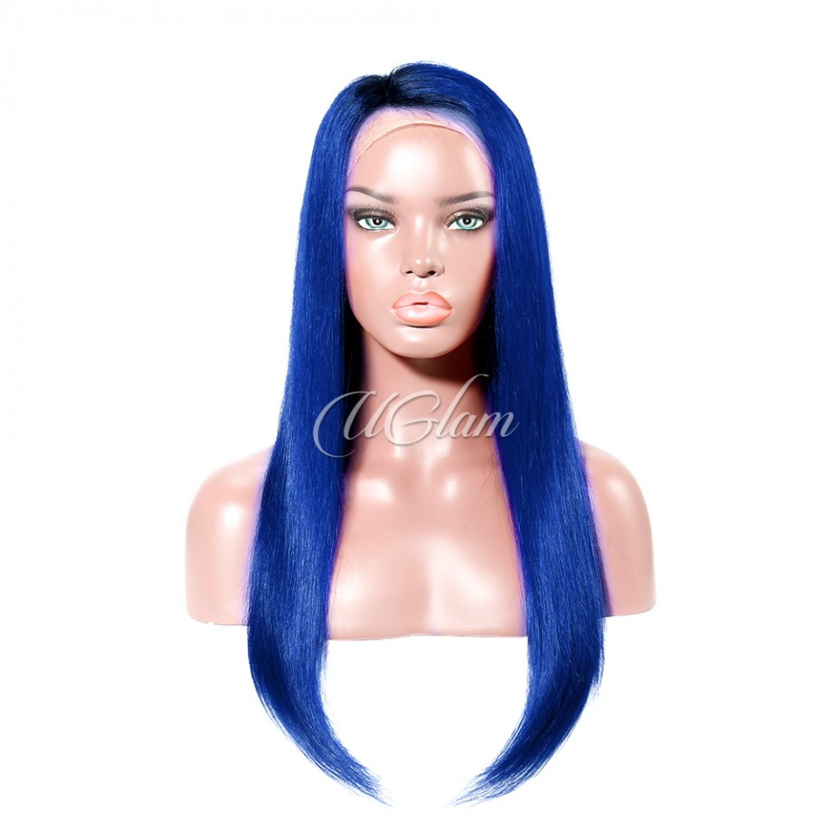 Uglam Hair Lace Front Wigs Blue Color Straight 180% Density