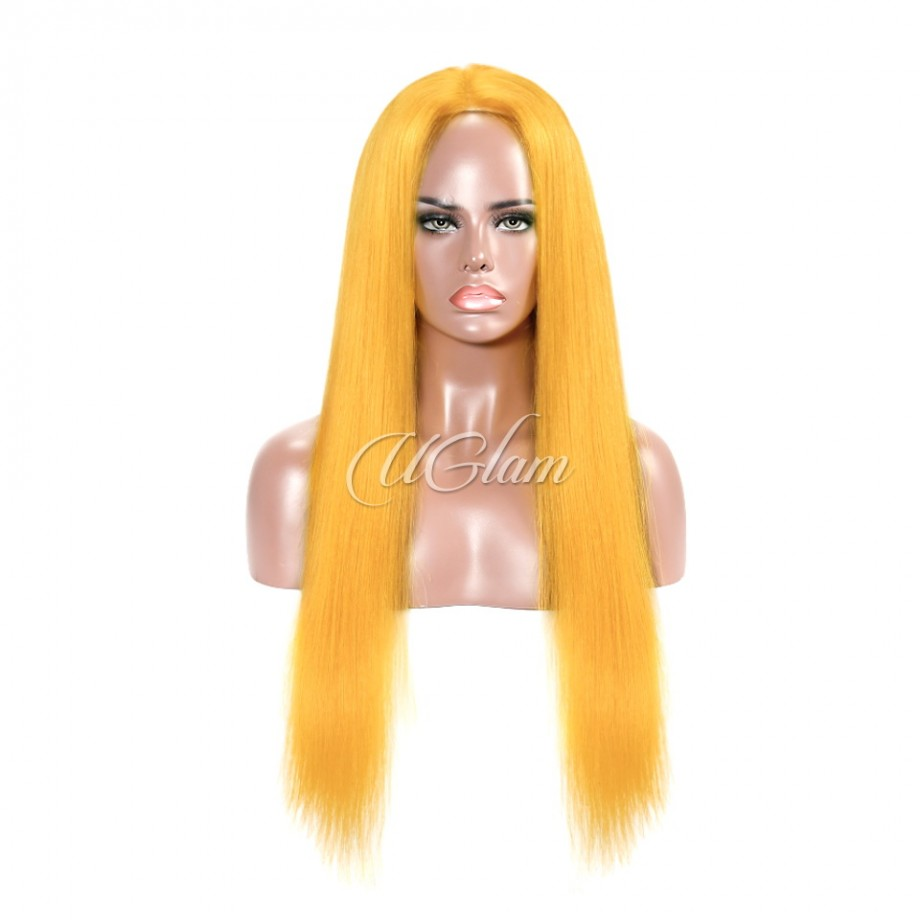 Uglam Hair Lace Front Wigs Light Orange Color Straight 180% Density