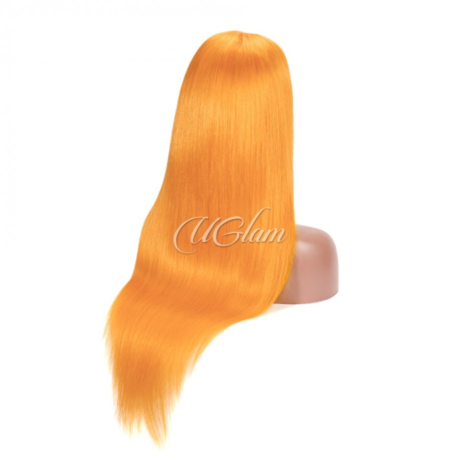 Uglam Hair Lace Front Wigs Orange Color Straight 180% Density