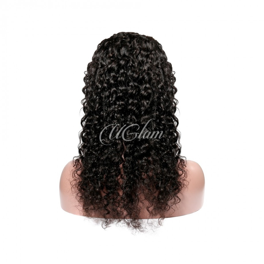 Uglam Hair Non Remy Hair Lace Front Wigs Deep Wave 150% Density