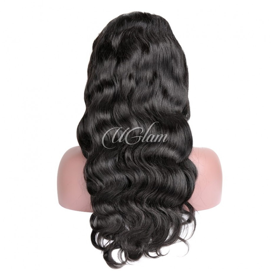 Uglam Hair Machine Wigs Body Wave Hair Weave With 4x4 Lace Closure