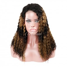 Uglam Hair Machine-Made Wigs Black Root Yellow and Black Ombre Color Deep Wave