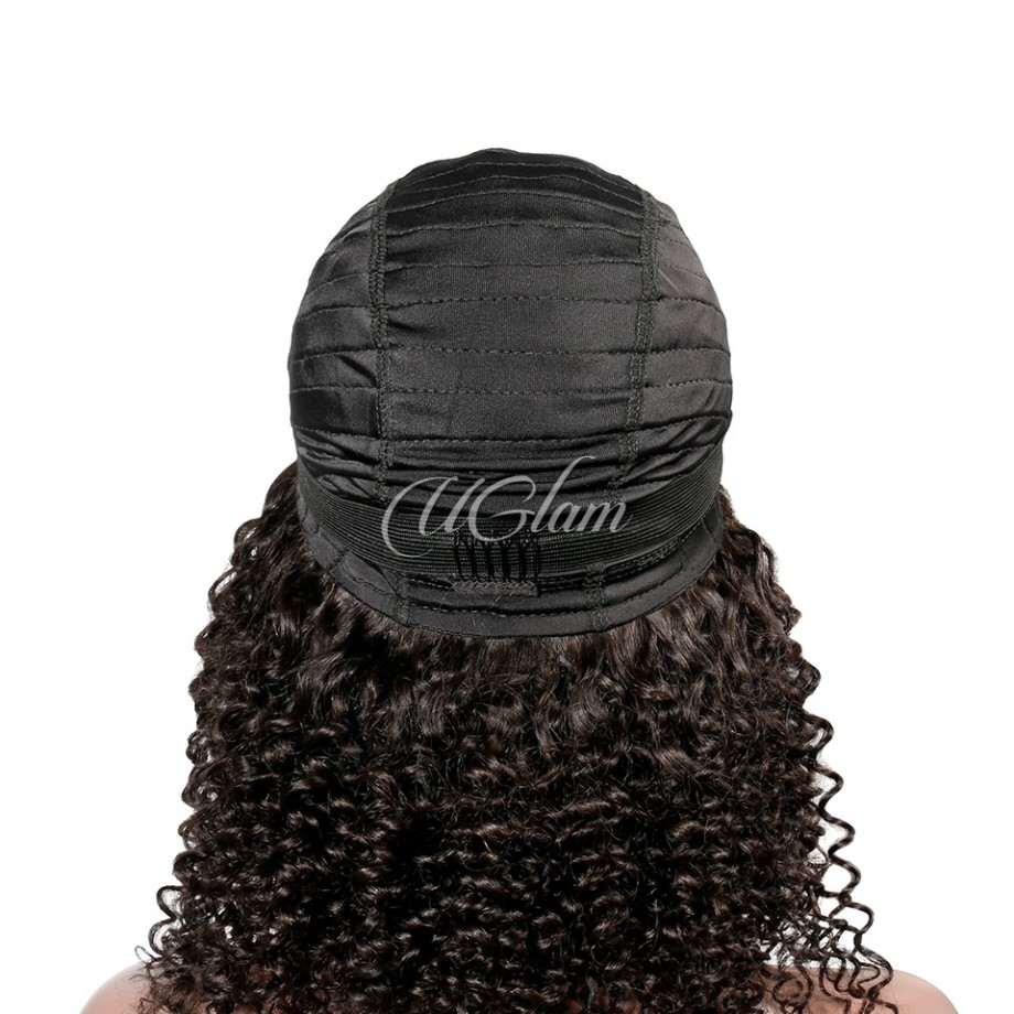 Uglam Machine Wigs Kinky Culry With Bangs For Women