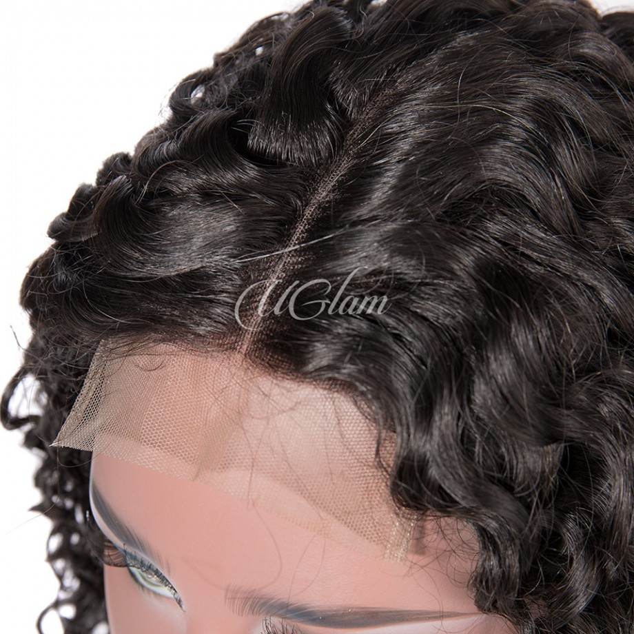 Uglam Machine Wigs 200% Density Nature Wave Hair Weave With 4x4 Lace Closure