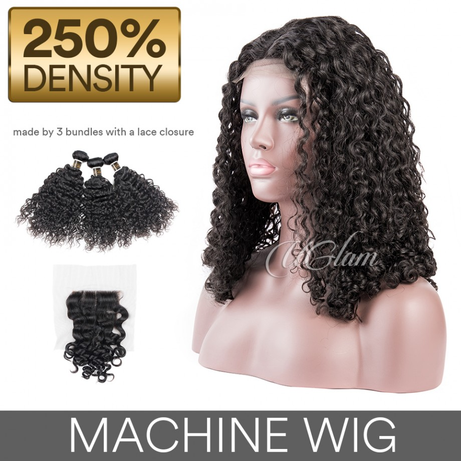 Uglam Hair Machine Wigs Roman Curl Hair Weave With 4x4 Lace Closure 250% Density
