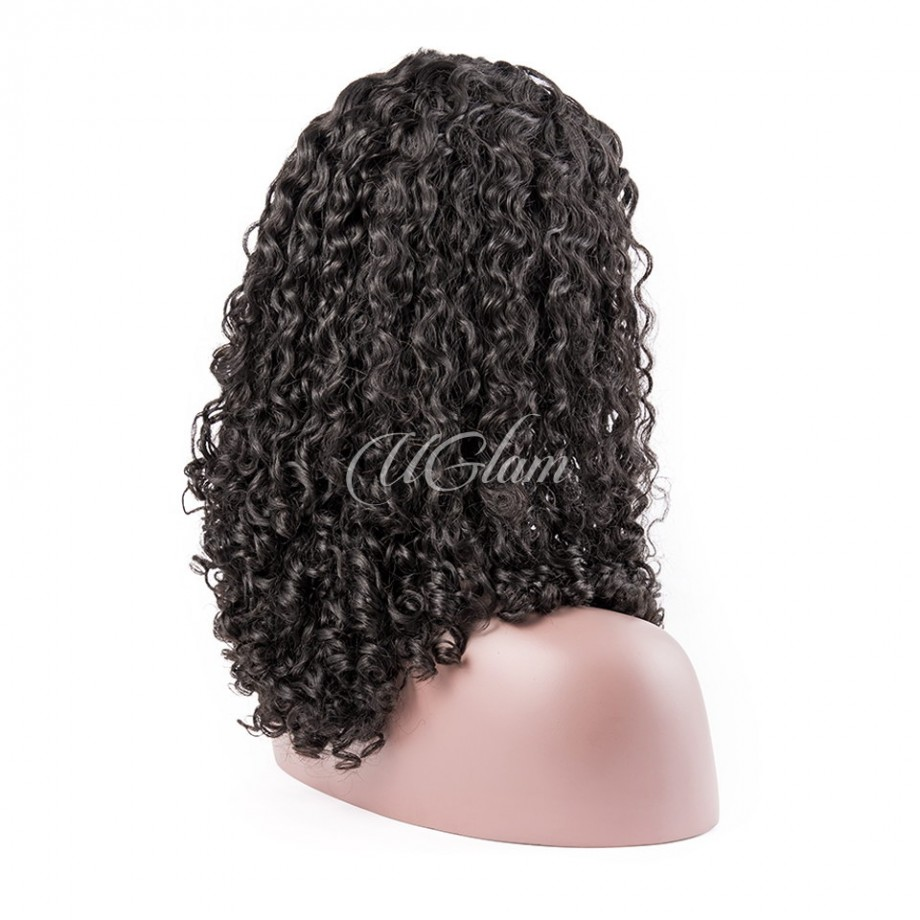 Uglam Machine Wigs 200% Density Roman Curl Hair Weave With 4x4 Lace Closure