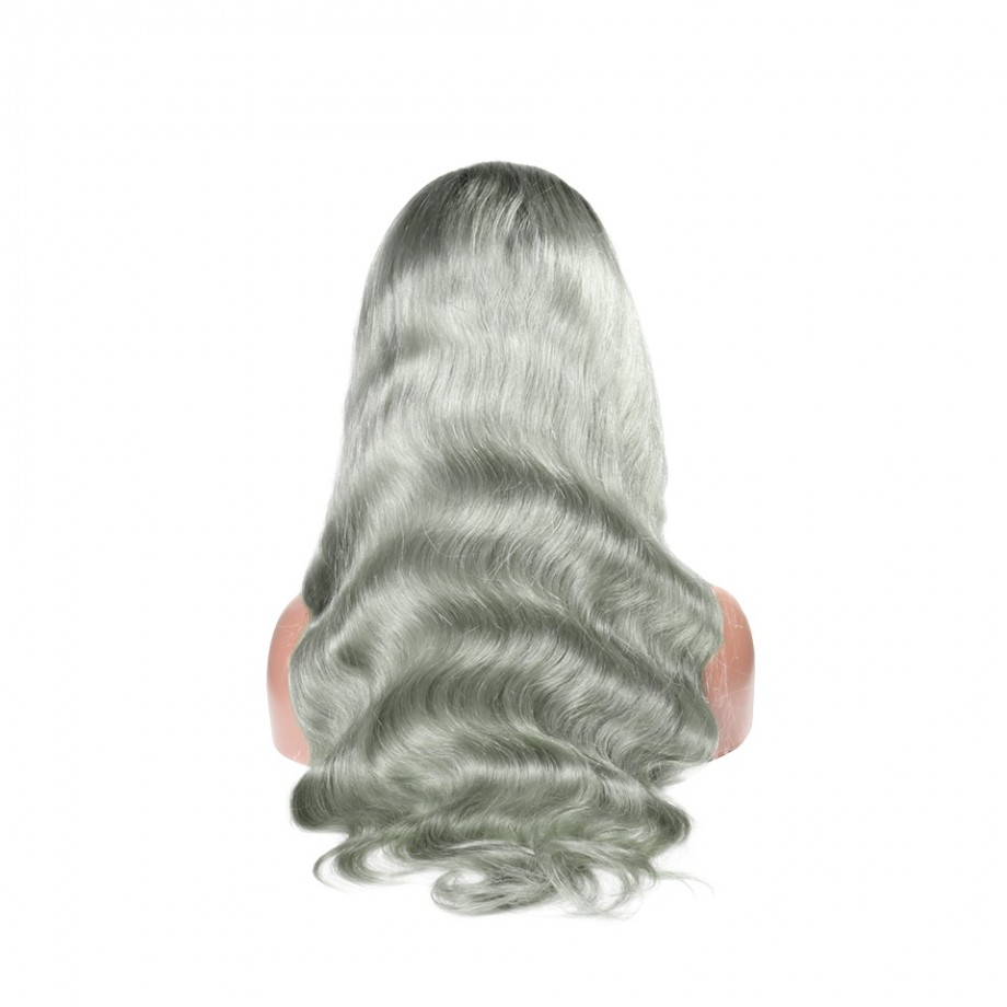 Uglam 1B/Grey Lace Front Wig Body Wave Virgin Hair