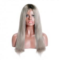 Uglam 1B/Grey 13X4 Lace Closure Wig Straight Virgin Hair