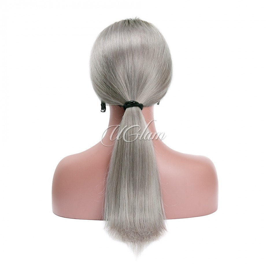 Uglam Hair Machine Wigs Straight Ombre Black Root Grey Hair Weave With 4x4 Lace Closure