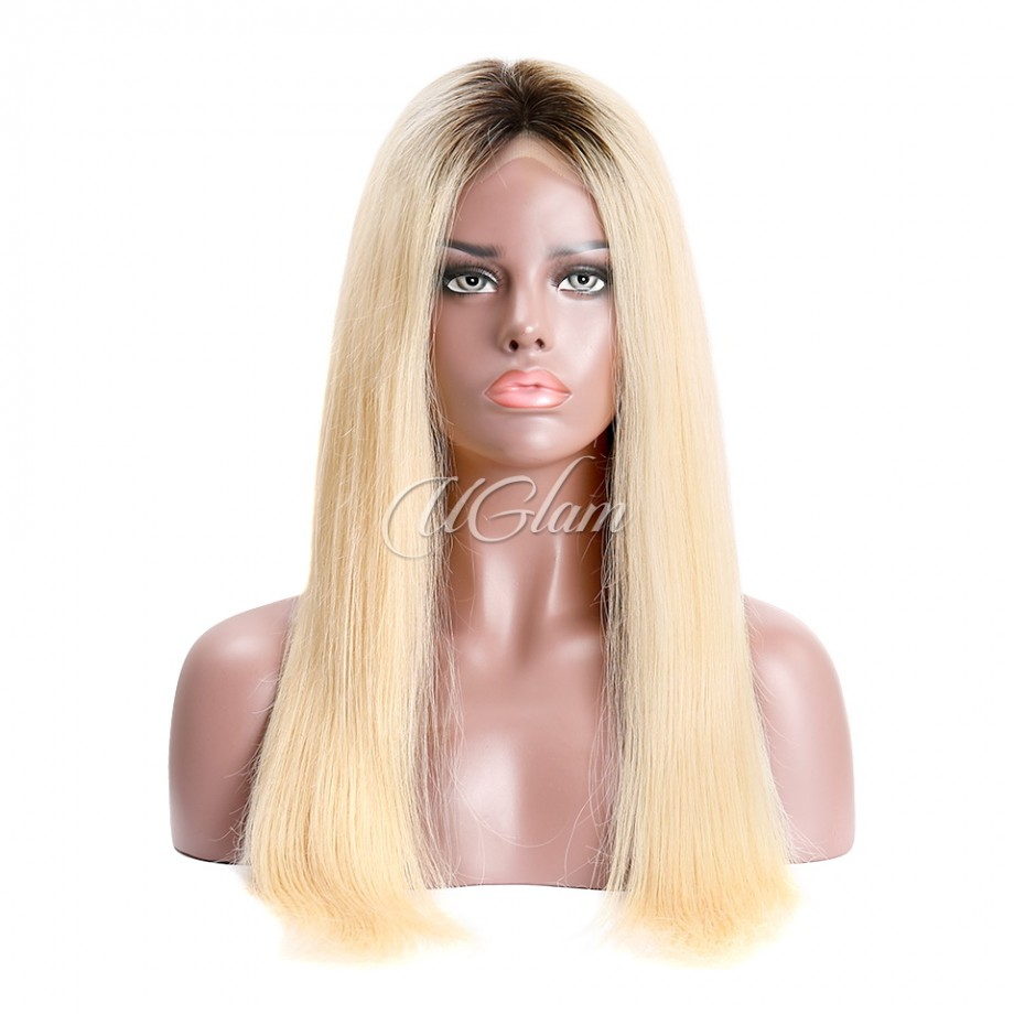 Uglam Closure Wig 1B/613 Color Straight Hair Made By Hair Weave With 4x4 Lace Closure