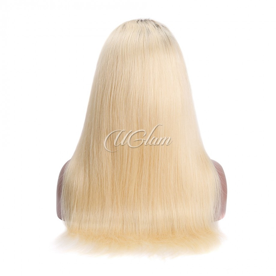 Uglam Machine Wigs Straight Ombre Black Root #613 Made By Hair Weave With 4x4 Lace Closure