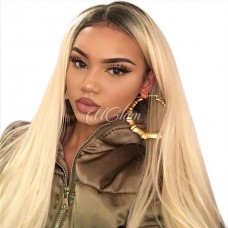 Uglam Hair Machine Wigs Straight Ombre Black Root #613 Made By Hair Weave With 4x4 Lace Closure