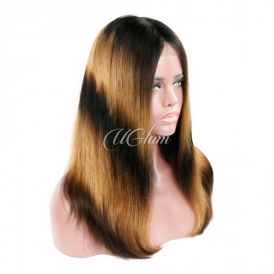 Uglam Machine-Made Wigs Black Root Yellow and Black Ombre Color Straight