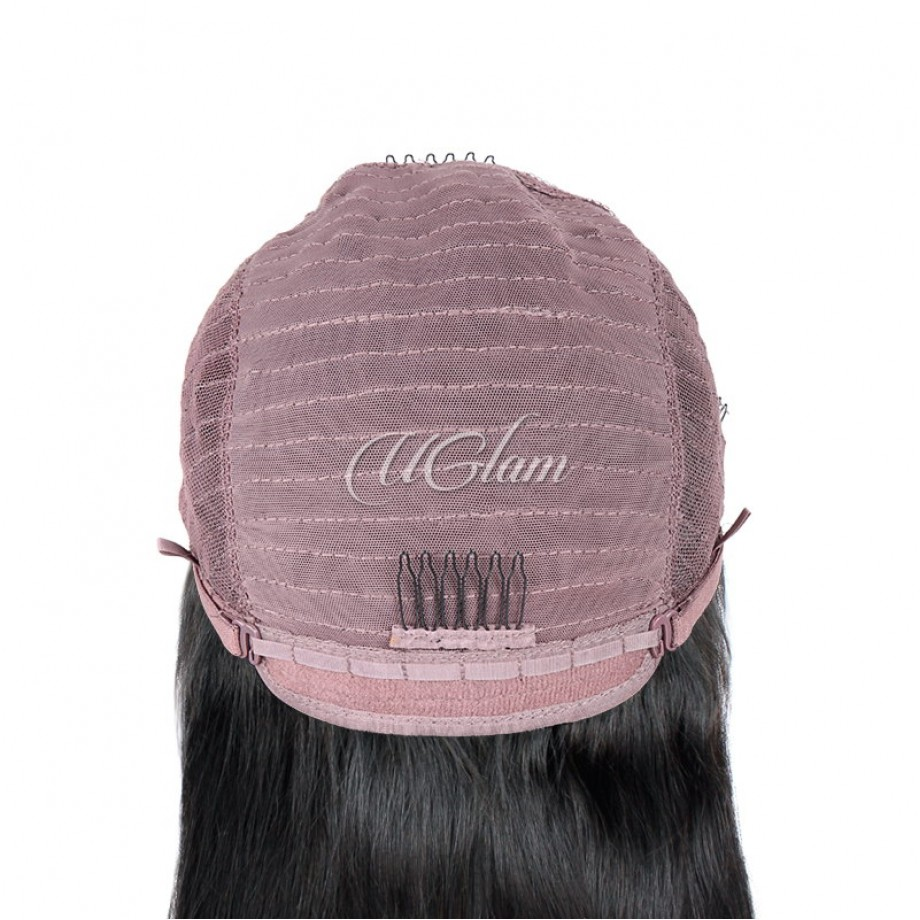 Uglam Bob Machine Wigs Straight Made By Hair Weave With 4x4 Lace Closure