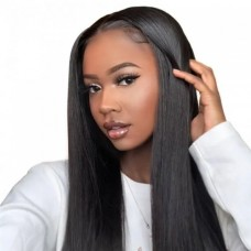 Uglam Machine Wigs 200% Density Straight Hair Weave With 4x4 Lace Closure