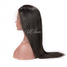 Uglam Hair Machine Wigs Straight Hair Weave With 4x4 Lace Closure