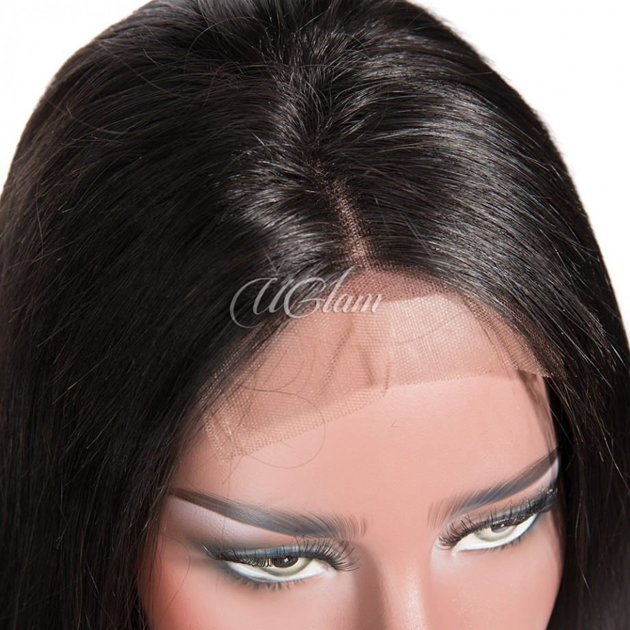 Uglam Hair Machine Wigs 200% Density Straight Hair Weave With 4x4 Lace Closure